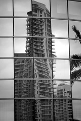 Dali-like. Miami Downtown Series (Mariner's Photography) Tags: miami downtown architecture building reflection brickell blackandwhite bw