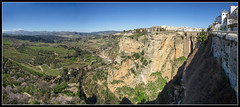 45/365 The beautiful town of Ronda, Spain. On the right is the town split by a gorge but joined by the Puente Nuevo Bridge looking out towards the magnificent landscape - a six image panorama. (B Ryder) Tags: nikon 7100 sigma 1020mm super wide angle ronda spain puente nuevo bridge