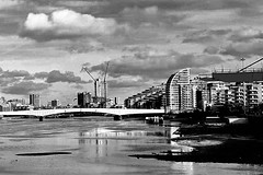 Thames View (mdavies149) Tags: blackandwhite bridges london water river thethames england wandsworth michaeldavies samsung buildings riverbank riverside mono monochrome skyline sky
