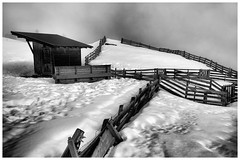 Mountain Cabin II (galvanol) Tags: fineart praxmar monochrome snow alps hiking tyrol bw olivergalvan fence blackandwhite winter valley