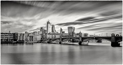 London Scene (Andy J Newman) Tags: london monochrome blackandwhite cheesegrater d810 lightroom longexposure nikon photoshop river silverefex skyiine southbank southwarkbridge thames walkietalkiebuilding