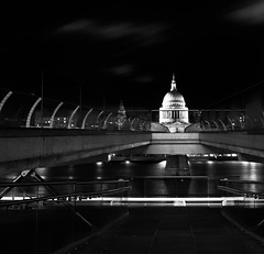 shadows and line (Andrew.King) Tags: london saint pauls st bridge thames river water reflections shadows contrast blackandwhite monochrome black white light trail path tate modern clouds railings millenium