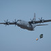 A 36th Airlift Squadron C-130J Super Hercules performs an airdrop during the Yokota C-130J Rodeo