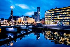 Reflection (Maria Eklind) Tags: malmö annalindhsplats posthusplatsen reflection spegling sweden cityscape water city twilight bluehour skånelän sverige se