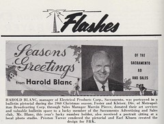 Sacramento Billboard Featuring Harold Blanc, Manager of Electrical Products Corp. Sacramento Branch - Christmas 1960 (hmdavid) Tags: signsofthetimes magazine vintage sign advertising roadside midcentury electricalproductscorp epco sacramento office branch billboard fosterandkleiser christmas 1960 haroldblanc manager