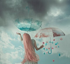 Between seasons (Sus Blanco) Tags: selfportrait conceptual canon rain spring pink surreal susblancophotography fineart fairytale fantasy