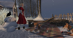 Exhaling snowflakes (Teddi Beres) Tags: second life sl virtual heels boots dog snow snowflake winter style fashion blonde girl woman coat snowman raven trees
