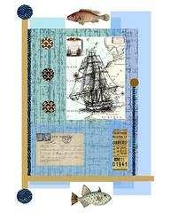 old ship (ladybumblebee) Tags: digitalart digitalcollage layers oldship blue collage art