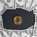 Bitcoin with US dollar banknotes