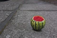 Watermelon on Sidewalk 1171 A (jim.choate59) Tags: watermelon jchoate on1pics sidewalk streetphotography street fruit