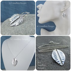 Vein Textured Fold Formed Leaf Sterling Silver Pendant and Earrings (KSJewelleryDesigns) Tags: metalwork flower pendant necklace jewellery jewelry handmade brightsilver shine sterlingsilver silverjewellery handcrafted silver silverwire metal hammered shiny polished bright soldered soldering brushed flowers petals sawing piercing silversmith silversmithing daisy daisies blooms blossom gemstone cabochon flowerpendant swirlblossom texture stamens organic wirework stonesetting foldformed foldforming leaf earrings