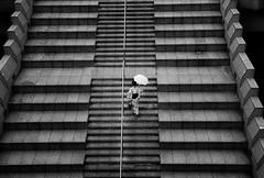 KIMONO (reiko_robinami) Tags: streetphotography street stairs urban rain outdoors umbrella monochrome woman blackandwhite yokohama japan