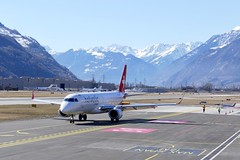 Embraer ERJ-190 Helvetic Airways HB-JVM Sion Airport Switzerland 2019 (roli_b) Tags: embraer erj190 helvetic airways ops swiss international airlines hbjvm sion sitten airport switzerland alps aeroport suisse flughafen schweiz aeropuerto suiza sivzzera 2019 taxi winter day aircraft airplane jet flugzeug flieger avion aereo aviacao aviation photography