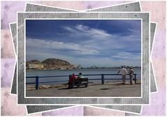 Enjoying the View (Audrey A Jackson) Tags: canon60d alicante view spain people bench railings sea sky clouds mountain