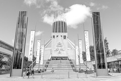 Cathedral Of Christ The King  B&W (Bob Edwards Photography - Picture Liverpool) Tags: pictureliverpool blackandwhite bobedwardsphotography merseyside christtheking metropolitan cathedral people worship church