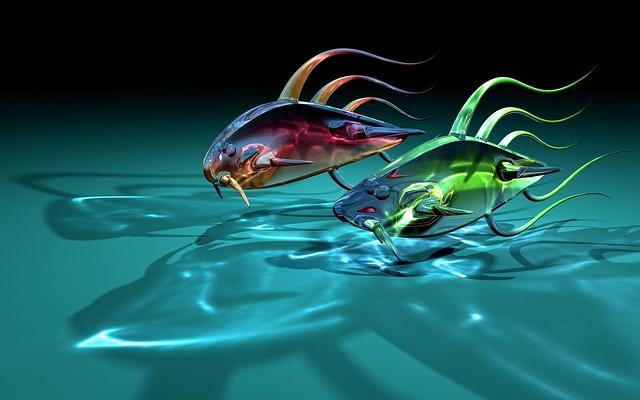 Обои арт, рыбы, рыбки, две, стекло, прозрачные, тени картинки на рабочий стол, фото скачать бесплатно