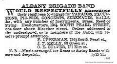 1861    albany Brigade band 134 1/2  south pearl (albany group archive) Tags: 1860s old albany ny photograph picture photo vintage history historic historical