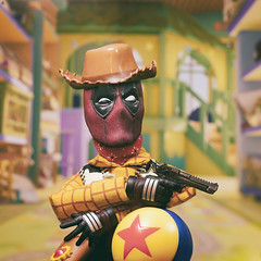 Sheriff Deadpool Woody (Jezbags) Tags: toystory toystory4 pixar disney disneypixar deadpool marvel marvelstudios hottoys toy toys sideshow canon canon80d 80d 100mm macro macrophotography macrodreams gun