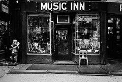 W. 4th St., NYC (Atget's Morning Light) Tags: 135 bw blackandwhite ei400 film kodaktrix leica28mmelmaritasph leicam4p tmax14 negative