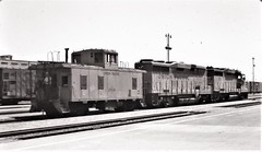 Union Pacific caboose with GP30 and GP30B locomotives at San Bernardino in 1978 (Tangled Bank) Tags: train railway railroad old classic heritage vintage 20th century north american equipment union pacific caboose with gp30 gp30b locomotives san bernardino 1978