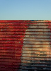 P1010710 (Patrick Hadfield) Tags: architecture blueskies shadows industrial corrugated red