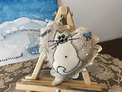 SNOWCAT (Cabinet of Old Secret Loves) Tags: stormy weather snow storm ghostales1957 story storyteller tale cat white whimsical art painting pillow dream magic magical annabelanger anna society6artist artist snowcat frosty winter nature owl snowyowl homesweethome home life love heart valentine february cold warm cozy antique pin brooch birds swallows bluebirdofhappiness happy happiness snowstorm