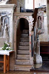 Minden, Westfalen, Marienkirche, pulpit, stairs (groenling) Tags: minden westfalen nrw nordrheinwestfalen deutschland germany de marienkirche pulpit kanzel wood carving woodcarving stairs stairway treppe entry door tür