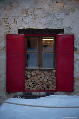 Window (frankprungnaud) Tags: snow composition graphique montagne chalet red window architecture