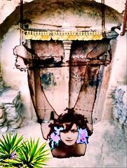 'Exotica Swinging in the Yard!' (tishabiba) Tags: saucy swinging burlesque trapeze illusion conceptual perception tish digitalart digitalmania artphoto artwork surrealism surreale surreal