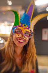Masked Server (djking) Tags: alberta smile woman canada brazilian mask calgary minasbraziliansteakhouse