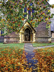 St Margarets Church Entrance. (All I want for Christmas is a Leica) Tags: churchesinwales stmargaretschurch cardiff churchgrounds autumnleaves autumn olympuspenep2 sigma19mmdn