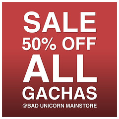 Bad Unicorn -  Gacha Sale (now over) (Bhad Craven 'Bad Unicorn') Tags: sale gacha bad unicorn badunicorn gachas sales 50 boxing day new year years save lindens money free low price sl