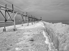 Frozen (mswan777) Tags: mobile iphone iphoneography apple white black ansel monochrome wave weather water michigan stjoseph scenic outdoor railing seascape winter cloud cold lighthouse pier frozen ice