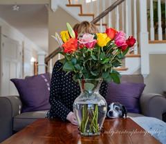 Valentine flowers selfie (mgstanton) Tags: valentine diego dog flowers selfie bouquet vase rose