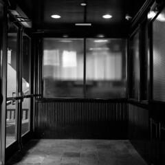 entrance (kaumpphoto) Tags: rolleiflex 120 trl ilford bw black white door entrance architecture street urban city window pattern square grid lines tile interior doorway minneapolis rectangle