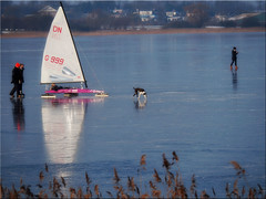 Winter fun on the lake in February 2018 (Ostseetroll) Tags: deu deutschland geo:lat=5402572174 geo:lon=1069420338 geotagged grosserpönitzersee klingberg schleswigholstein winter 2018 see lake eis ice eissegeln icesailing olympus em10markii