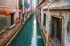 walled narrow canal (werner boehm *) Tags: wernerboehm venice canal reflection architecture wall