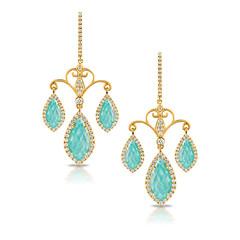 18k Yellow Gold Diamond Earring With Clear Quartz Over Amazonite (diamondanddesign) Tags: 18kyellowgolddiamondearringwithclearquartzoveramazonite18 e6312az 18k yellow gold amazon breeze doves earrings diamond clear quartz over amazonite 087 ct front