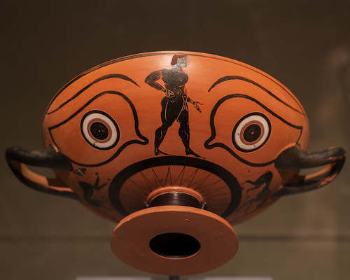 Athenian Black Figure kylix with image of a boxer