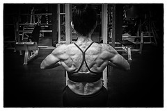 body builder at work (ABWphoto!) Tags: female middleage one exercise fitness weights muscles flexing blackandwhite healthylifestyle people gym