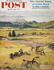 """Abandoned Equipment"" (Retro Reveries) Tags: clymer johnclymer post cover magazine landscape 1950s 50s nostalgia vintage retro mountain farm homestead kids 1959 horse pasture midcentury"