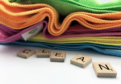 Cleaning essentials stock photo (bmstores) Tags: clean cleaning tidy mess no fuss hassle spring cleanliness marie kondo mrs hinch multi coloured micro fibre cloth damp dry wet kitchen living room home letters words
