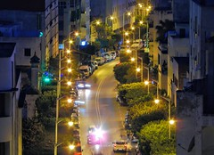 Avenue La Aguada (Yassine Abbadi) Tags: maroc morocco marruecos tetouan tetuan trees arbres lampadaire voiture cars nuit night immeuble buildings