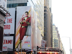 Shazam The Big Red Cheese Billboard 42nd St NYC 3715 (Brechtbug) Tags: shazam billboard 42nd street new captain marvel the big red cheese poster ad nyc 2019 times square movie billboards york city work working worker paint painting advertisement dc comic comics hero superhero alien dark knight bat adventure national periodicals publication book character near broadway shield s insignia blue forty second st fortysecond 03142019 lightning flight flying march
