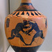 Athenian Black Figure lekythos by the Amasis Painter representing wrestlers