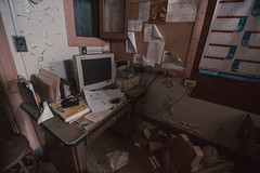 Office and Computer (rantropolis) Tags: abandoned school office computer documents pink urbex urbanexploration nikon d750 15mm