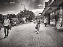 A woman with a dog (wojciechpolewski) Tags: blackwhite blacknwhite blackandwhite bw bnw monochromatico monochromatic monochrome monochrom monotone greyscale noncolour woman dog sidewalk clouds summer streetexplorer streetlife streetphotographer streetexploration streetview streetphotography streetphoto urban urbanexploration urbanexplorer kedzierzynkozle poland wpolewski photo