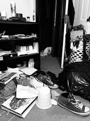 Chaos (Goofla) Tags: doorway doorways chaos iphone pet mutt pitbull jackrussle garbage adidas shoes clothes junk converse bw bnw whitedog blackandwhite perspective dogdays dog mess cluttered clutter home eyesore dirty