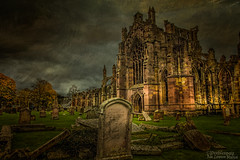 Among the Ruins (Peeblespair) Tags: melroseabbey scotland borders peeblespair peeblespairphotography raelawsonstudios distressedtextures abandon ruins desolate gothicarchitecture abbey graveyard tombstones