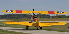 Boeing/Stearman PT17 Kaydet, C-GVFB, 1941 - Brampton Airport, Caledon, Ontario. (edk7) Tags: nikond300 nikonafsnikkor70200mm128giiedswmvredif edk7 2011 canada ontario peelregion caledon bramptonairport cnc3 greatwarflyingmuseum airshow bramptonflightcentre boeingstearmana75n1pt17kaydet cn751496 1941 cgvfb biplane military trainer aircraft plane airplane propellor propeller aviation wire strut continentalr670w670sevencylinderradial220hp secondworldwar worldwartwo worldwarii worldwar2 wwii ww2